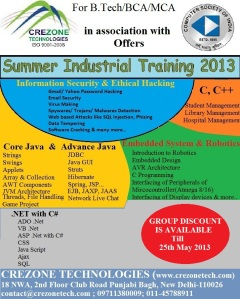Crezone India Industrial Training Placement
